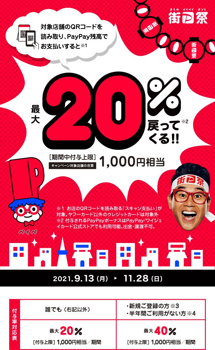 街のお店を応援!最大1,000円相当 20%戻ってくるキャンペーン